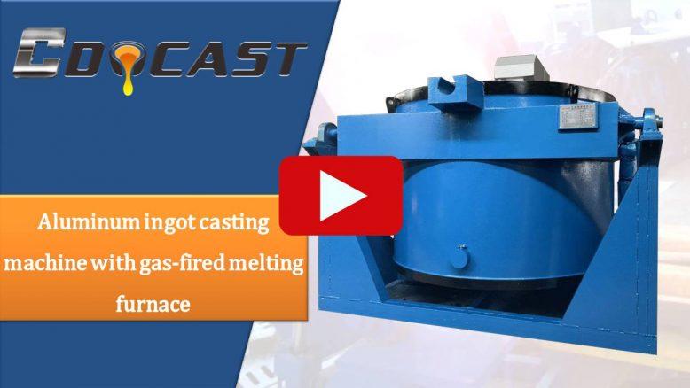 Aluminum ingot casting machine with gas-fired melting furnace